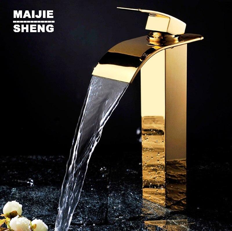 Salle de bain grand bassin doré robinet haut bassin robinet évier mitigeur cascade bassin robinet d'eau salle de bain robinet mixerSD-S-H-005A