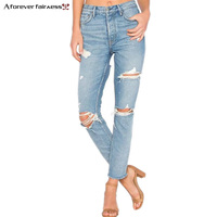A Forever 2018 Super Sexy Butt Torn Hole Jeans Slim Fit Jeans Women Middle Waist Hips