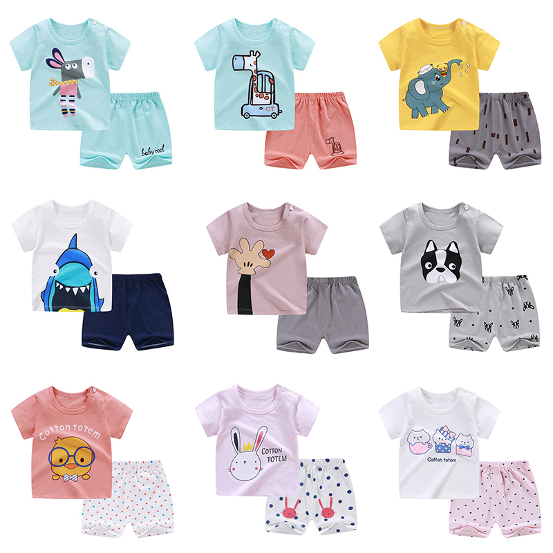 INPEPNOW Baby Boys Clothing Set Summer 2019 Infant Cartoon Print T-shirt Tops+Bottom Shorts 2PCS Girls Outfit Kids Clothes CZX37
