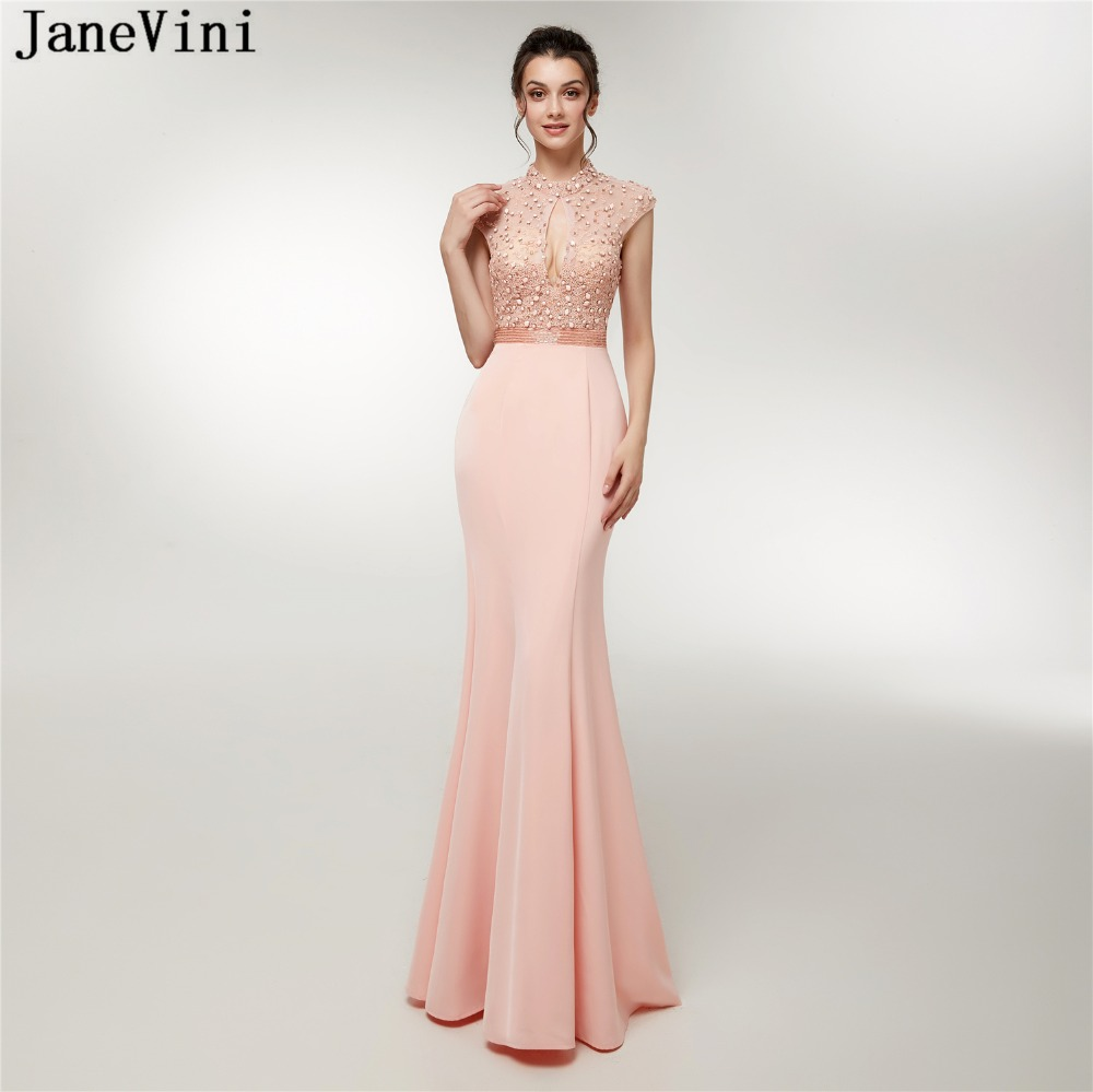 JaneVini 2018 Elegant Mermaid Beaded   Bridesmaid     Dresses   High Neck Long Prom   Dress   Floor Length Backless Satin Formal Party Gowns