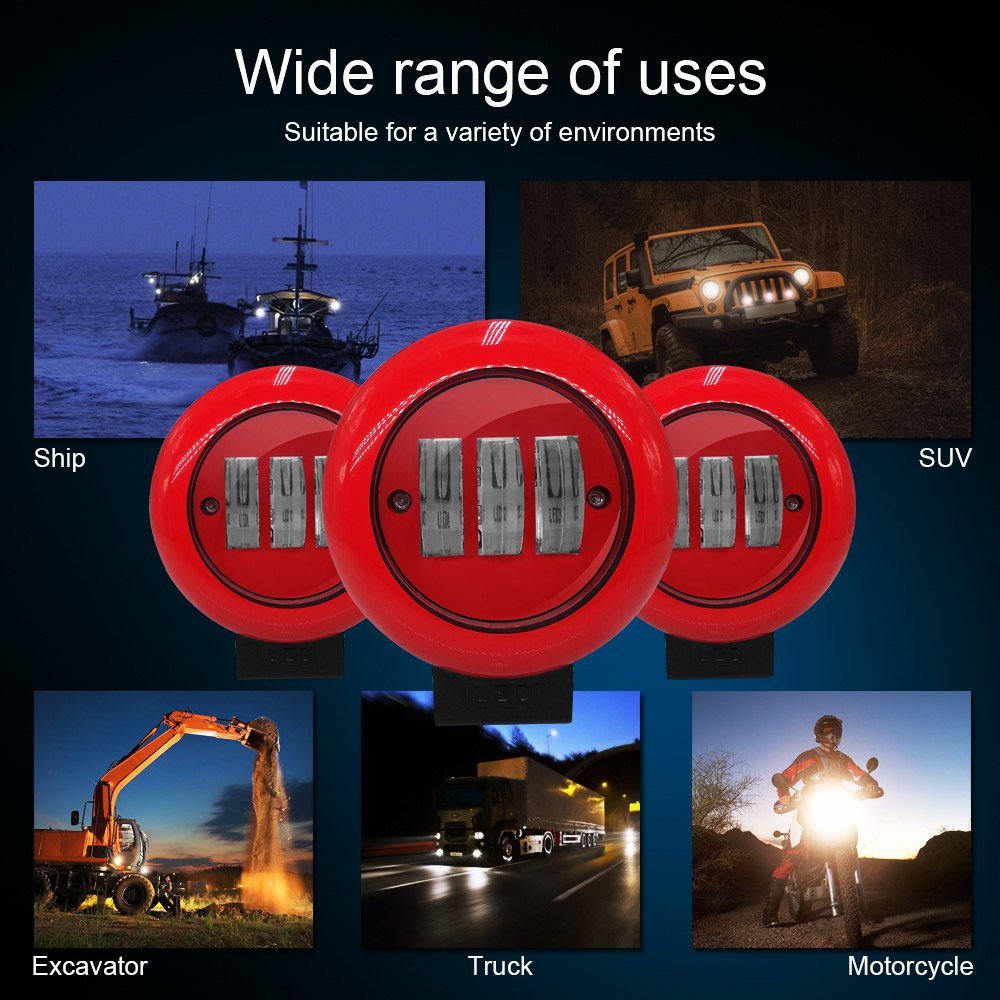 Image 5 - 1pcs 30W Red Round Work Light Spot Spotlight For Offroad Truck Tractor SUV Driving Lamp 4000lm Flux 6000K Red Round Work Light-in Light Bar/Work Light from Automobiles & Motorcycles