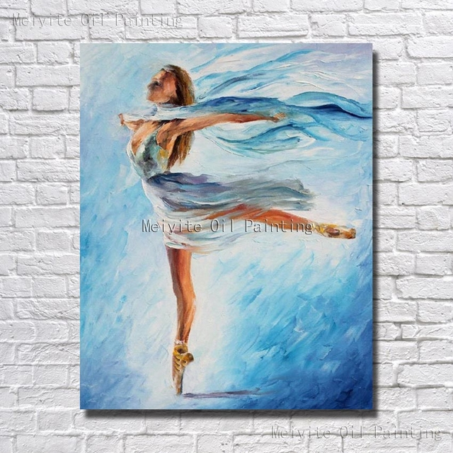 Beauty Ballet Dancer Blue Color Portrait Oil Painting On Canvas Modern Art Hand Paint