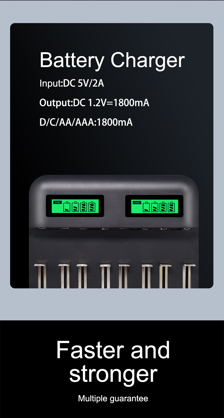 Зарядное устройство palo 8 слотов с ЖК дисплеем aa aaa sc c