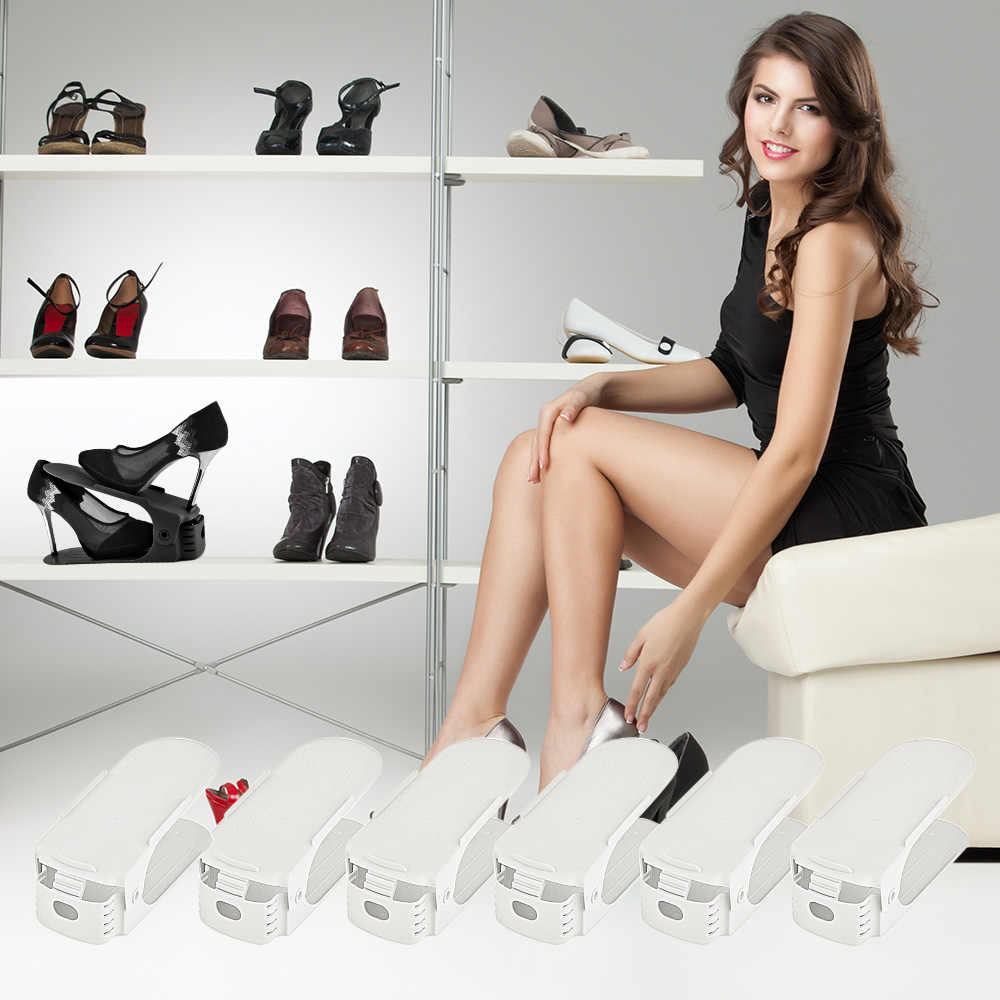 Shoe Rack Double Shoes Organizer Modern Shoebox Cabinet Stand Plastic Shelf Storage Woman Sandal Dropship Range Shoes Wholesale