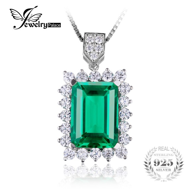 JewelryPalace Luxury 6.5ct Created Nano Russia Emerald Solid 925 Sterling Silver Pendant For Women Brand Jewelry Without a Chain
