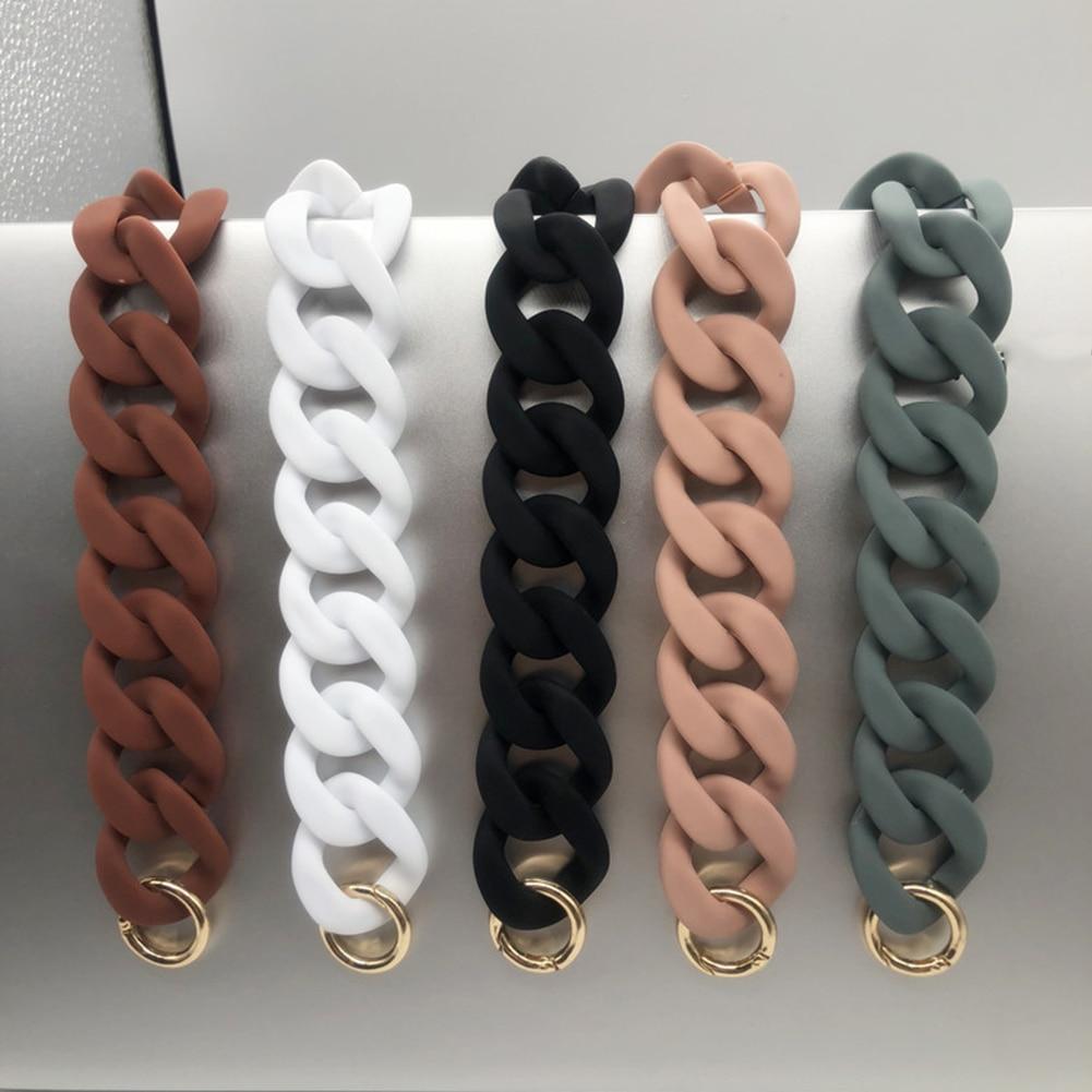 1 PC 30cm/41cm  DIY Fashion Colorful Detachable Acrylic Chain Handle Fish Bone Plastic Strap Shoulder Bags Accessories For Women