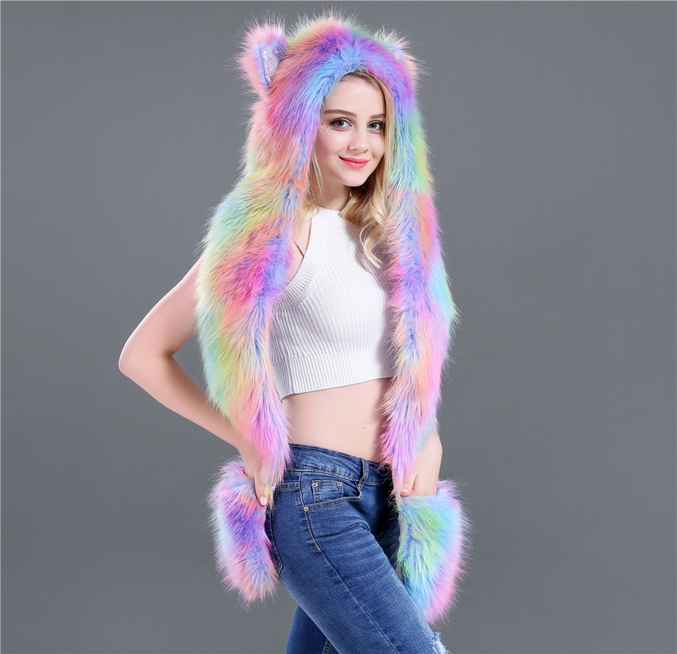 European And American Faux Fur Caps Cartoon Animal Caps Hats Scarves And Gloves In One Unicorn Winter Accessories For Women