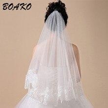 BOAKO 150cm Women Bridal Short Wedding Veils White Ivory One Layer Lace Flower Edge Appliques Bride Veil without Comb Velo Novia