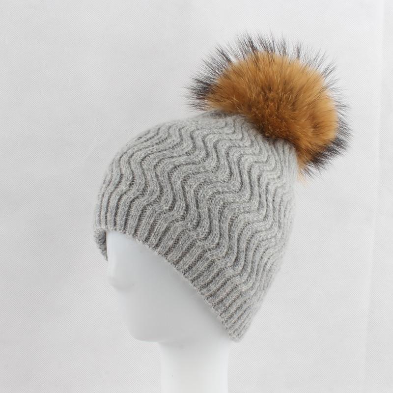 Women Real 30% Wool   Skullies     Beanies   Hats 15CM Raccoon Fur Pom Pom Hat Female Winter Warm Caps Fashion Headgear LF4073