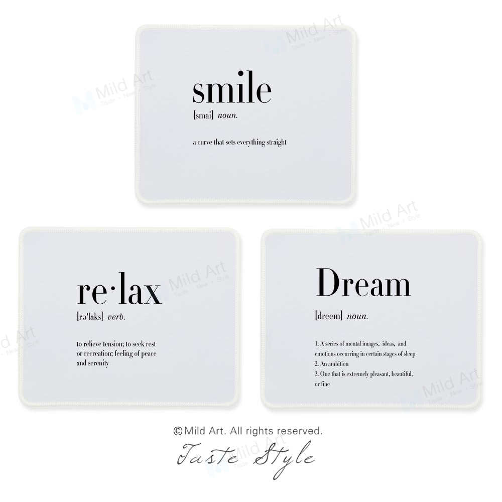 Nordic Black White Smile Humor Funny Quotes Print Minimalist Creative Man Gift Office PC Gamer Gaming Computer Mouse Pad Mat Set