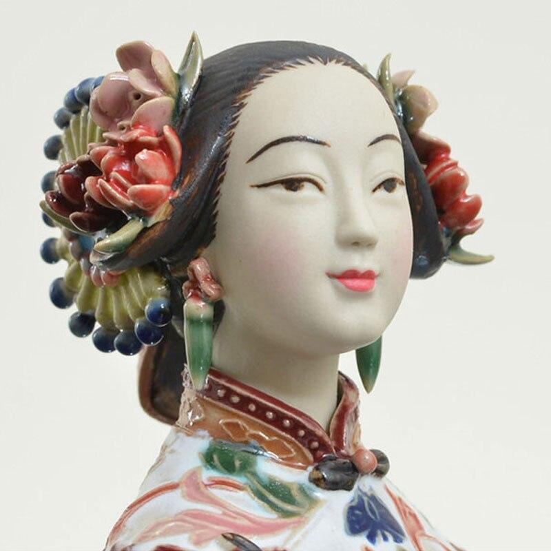 Vintage chiński Shiwan sztuki ceramiki ręcznie ceramiczne porcelanowe orientalne pani figurka statua rzeźby wystrój kolekcjonowania prezenty w Posągi i rzeźby od Dom i ogród na  Grupa 2