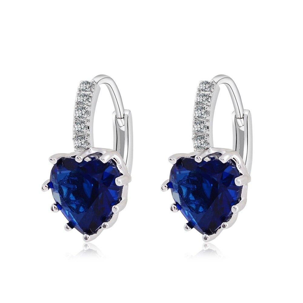 Earrings Wedding-Silver Women Crystal Heart for Fashion Hoop Gift Brides Brincos Luxury