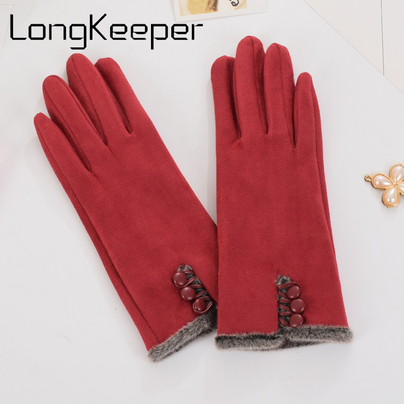 2019 Fashion Winter Women's Clothing Elegant Suede Glove Warm Driving Soft Mittens Wrist Female Touched Screen Gloves G294032