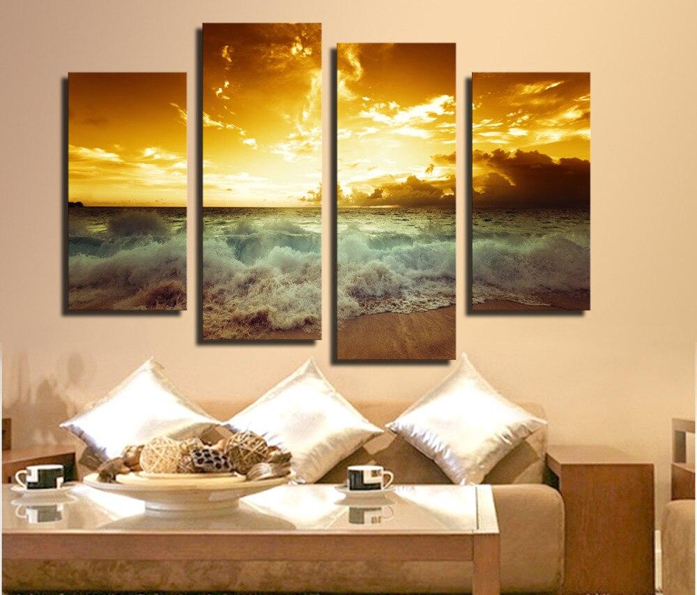 4 Pieces Family Decoration Pictures Sea Wave Canvas Print Oil ...
