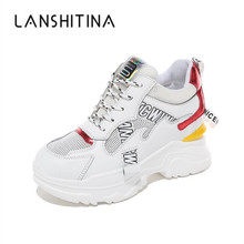 2019 New Summer High Platform Shoes 9CM Wedge Heels Women Thick Sole Sneakers Air Mesh White Breathable Casual Woman