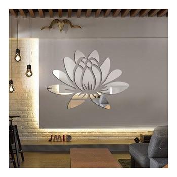 17 Teile/satz Elegante Lotos Blume Aufkleber Wandtattoos Kunst Acryl Spiegel  Wandaufkleber Für Kinderzimmer Wohnzimmer Dekoration