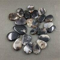 MY1105 Mix Oval tamanho Preto e marrom despojado Fatia Ágatas Contas Loose, Corte Fatias Laje Onyx Beads Para Jóias fazendo