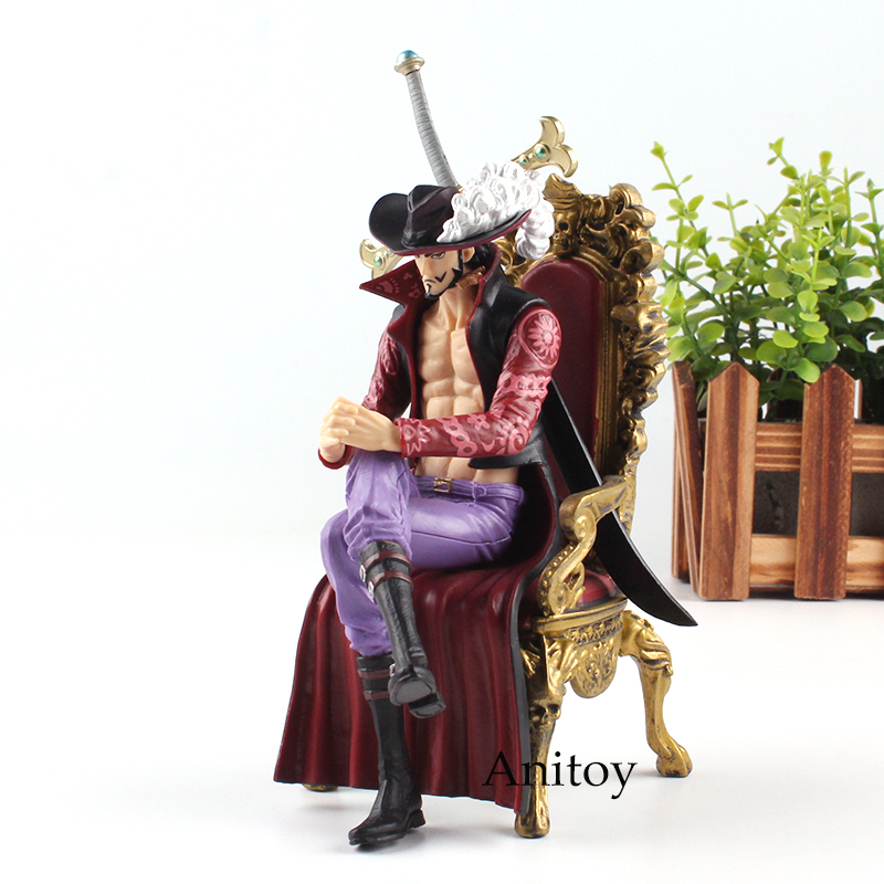 One Piece Figure One Piece Anime Dracule Mihawk Hawk Eyes Action Figure Sitting on Chair CREATOR X CREATOR Toys 16cm KT4721