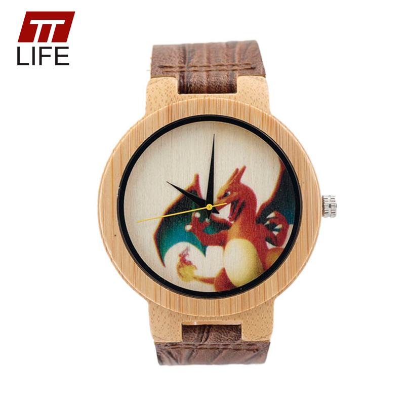 ФОТО TTLIFE UV Printed Pokemon Go Bamboo Woodenwatch Pika Charmander Cute Cartoon Wooden Quartz Watches WD2791 2017 in Metal Box