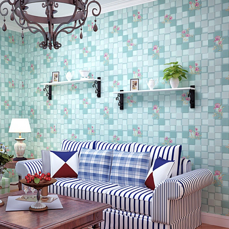 beibehang 3D wallpaper Non-woven mosaic wall paper roll flower pattern wallcovering for girls room for home decoration blue/pink beibehang sky blue mediterranean non woven wallpaper boys girls children s room bedroom background 3d mural wall paper roll of