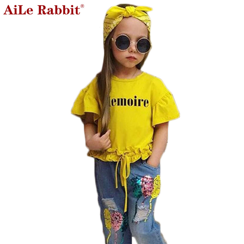 AiLe Rabbit INS Girls Suits Letter Short Sleeve T Shirt Jeans Headband 3 Pieces Sequins Balloons Pants Fashion Kids k1 letter print twist headband