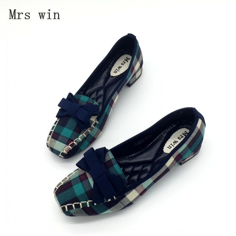 2017 Fashion Blue Gingham Women Casual Loafers Square Toe Bowtie Flats Heels Shoes For Woman Ladies Single Shoes Zapatos Mujer fonirra women flats pointed toe ladies chaussure sapatos black casual shoes alpargatas loafers ballet zapatos mujer 017