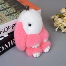 LLavero de conejo Rex de 13cm, pompón de conejo, bolso para muñeca, muñeco de totoro de peluche, juguete kawaii de anime