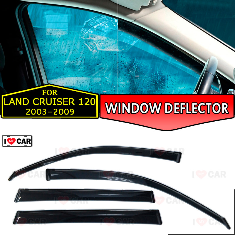 Window deflectors for Toyota Land Cruiser 120 2003 2009 car window deflector wind guard vent sun
