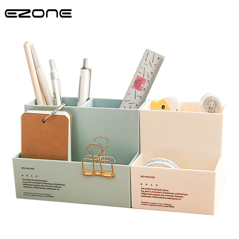 EZONE Simple Style Pen Holder Storage Box 3 Grids/ 2 Grids Pencil Holder Multifunctional Pencil Case Stationery Material Escolar jinbei em 35x140 grids soft box page 3