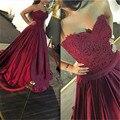 Borgonha Apliques de Renda Prom Vestidos Longos Sexy Backless Querida A Linha de Vestidos Exclusivos de Baile Vermelho Vestido de Festa À Noite Para As Mulheres