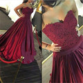 Burgundy Appliques Lace Long Prom Dresses Sexy Sweetheart Backless A-Line Evening Party Gowns Unique Red Prom Dress For Women