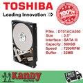 Toshiba dt01aca050 500g hdd sata 3.5 3 área de trabalho do disco duro sabit interno unidade de disco rígido interno hd disco rígido disque dur interne