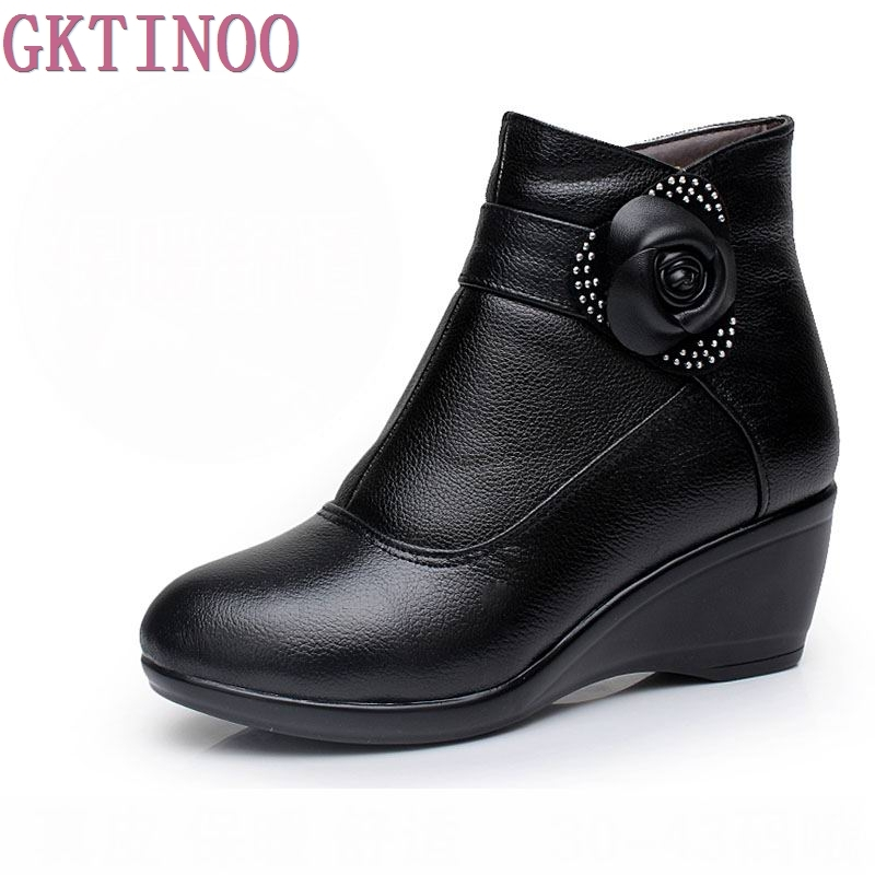 New 2018 women boots women genuine leather winter boots warm plush autumn boots winter wedge shoes woman ankle boots size 34-43