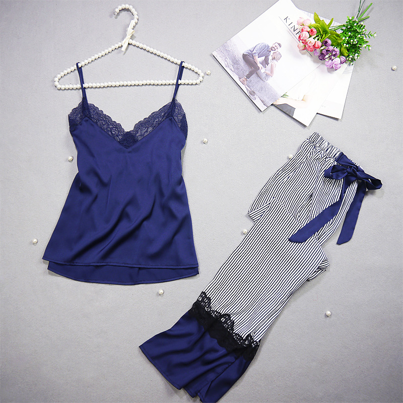 Pajama-Set Nightdress Spaghetti-Strap Women Summer Hight-Quality Brand Freshing