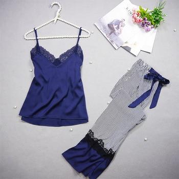 Freshing Summer Spaghetti Strap Women Pajama Set  Nightdress+Long Pant  Set Brand Hight Quality Pajamas