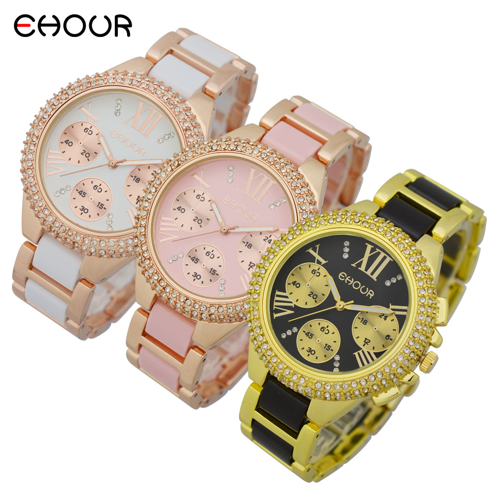 Fashion Crystal 2016 GENEVA Watch Women luxury rhinstone Two-tone Acrylic Bracel