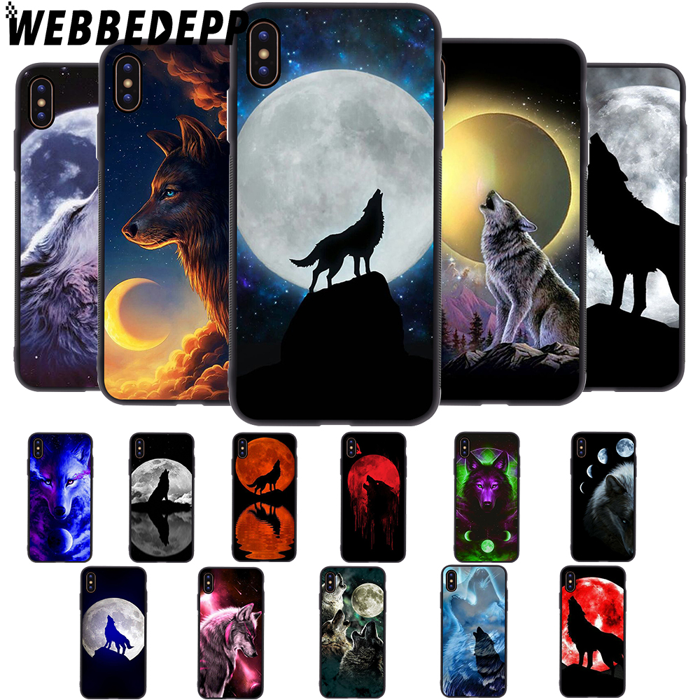 WEBBEDEPP Moon Roaring Wolf Soft Case for iPhone 5 5S 6 6S 7 8 Plus X XS 11 Pro MAX XR Cover