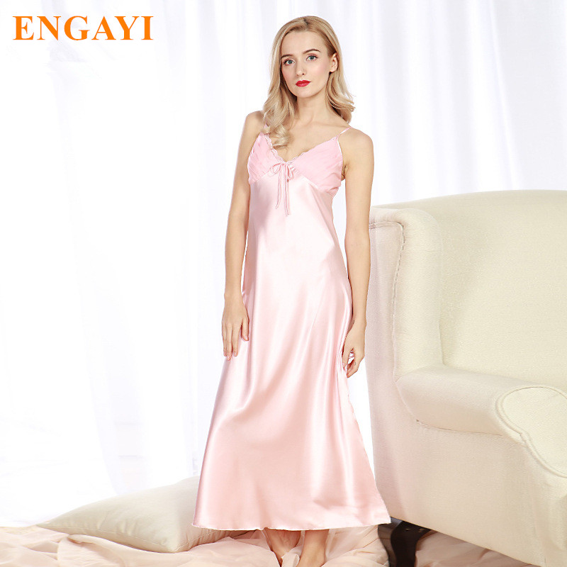 ENGAYI Plus Size Sexy Lace Nightgown Silk Satin Nightdress Night Gown  Nightwear CQ311Brand Long Women Summer ... 04c8385b0