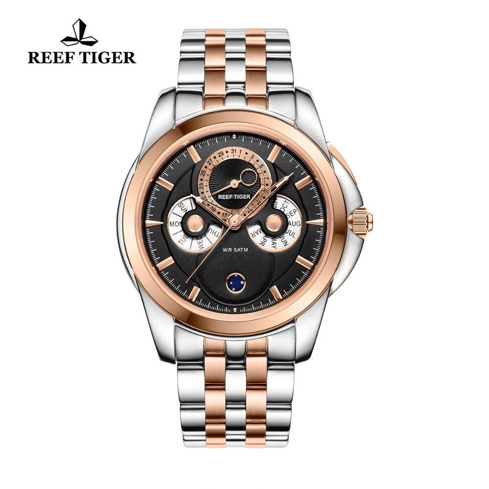 Reef Tijger/RT Luxe Rose Goud Horloges heren Muti Functionele Dial Quartz Horloges met Kalender Maanfase RGA830-in Quartz Horloges van Horloges op  Groep 1