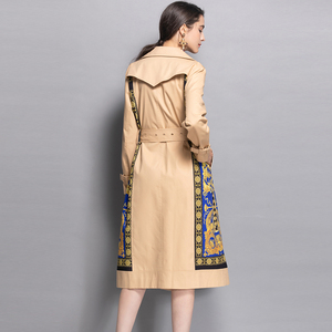 Image 3 - AELESEEN 2018 Womens Fashion Trench New Fall Winter Full Sleeve Turn Collar Luxury Vintage Print Slim Belt Elegant Long Coat