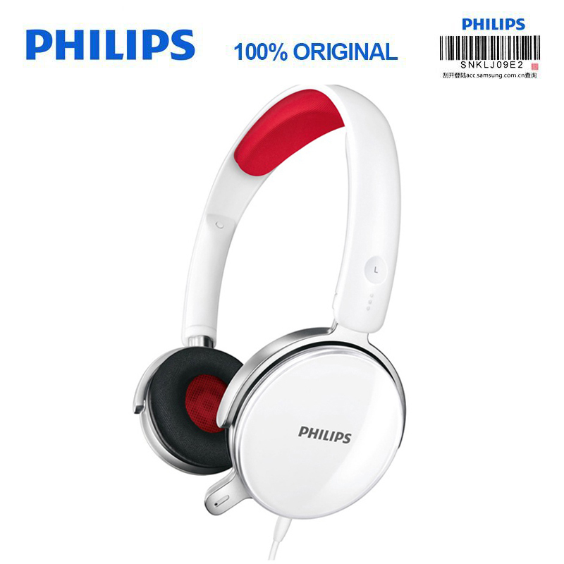Philips Genuine SHM7110U Headphones with Wire Control Microphone Stereo Bass Headset for Music SmartPhone Computer salar em300i stereo bass headphones 3 5mm sport headset music earphone with microphone for xiaomi iphone computer pc mp3