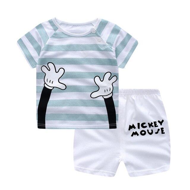 יילוד בגדי סט מזדמן קיץ תינוק סט ילדים קצר שרוול ספורט סט Tshirt מכנסיים תינוקות תינוק בגדי 6-24Month