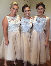 Hot – Cheap Champagne Bridesmaid Dresses White Lace Tea Length Bride Dress Robe Demoiselle D'Honneur
