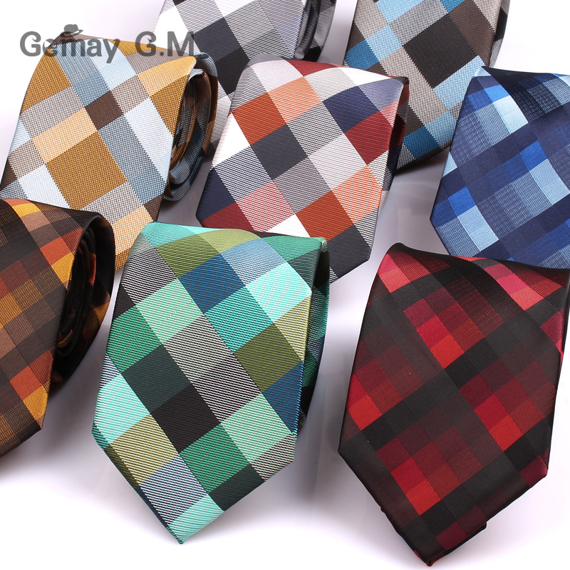 New Jacquard Woven Neck Tie For Men Classic Check Ties Fashion Polyester Mens Necktie For Wedding Business Suit Plaid Tie