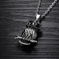 Free Shipping 2016 New Fashion Jewelry Wholesale Fine Owls Men's Stainless Steel Pendants Necklace For Men / Male Gift LGX902