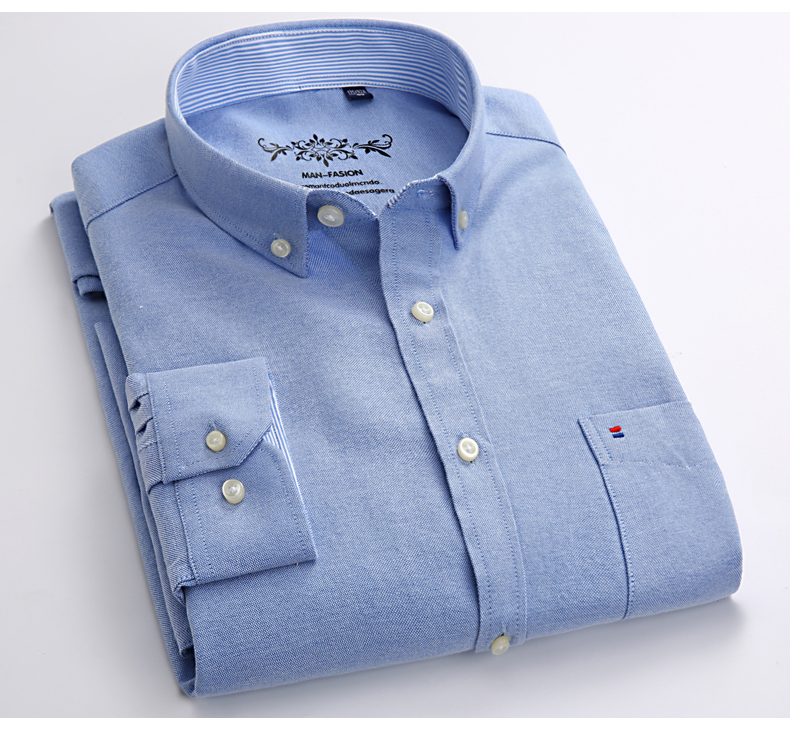 Mens Long Sleeve Solid Oxford Dress Shirt with Left Chest Pocket High-quality Male Casual Regular-fit Tops Button Down Shirts 7