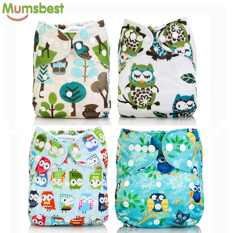 [Mumsbest] Cutie Owl Baby Cloth Diapers Washable Reusable Adjustable One Size Baby Nappy  Fit For 8lb -35lb Pocket Diaper Covers