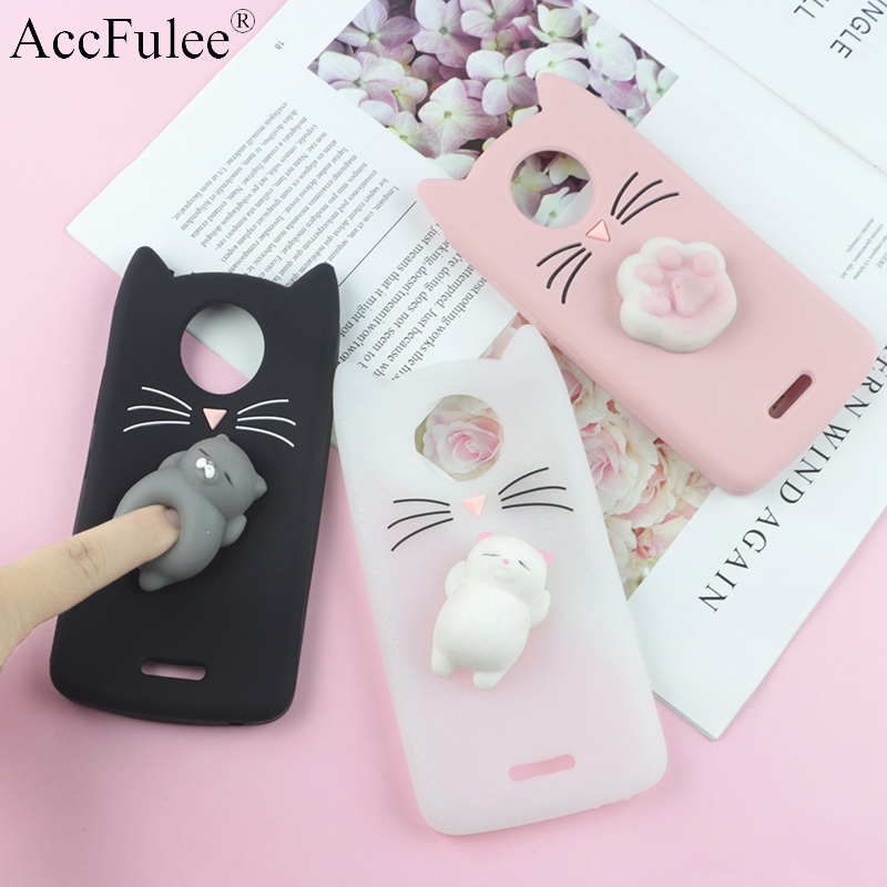 3D Cute Japan Glitter Bearded Cat Case For Moto C E4 Plus E5 G5 G5S Plus G6 Play Cute Squishy Cover Mobile Phone Bags