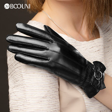 BOOUNI Genuine Leather Gloves Fashion Women  Sheepskin Glove Black Bow Winter Driving Hot Trend NW216