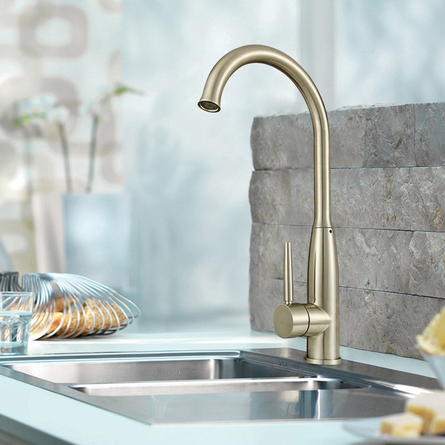 Water Tap polished kitchen faucet Brushed Nickel basin sink mixer ...